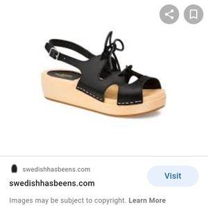 Swedish Hasbeens Black Lace Up Sandals Size 40